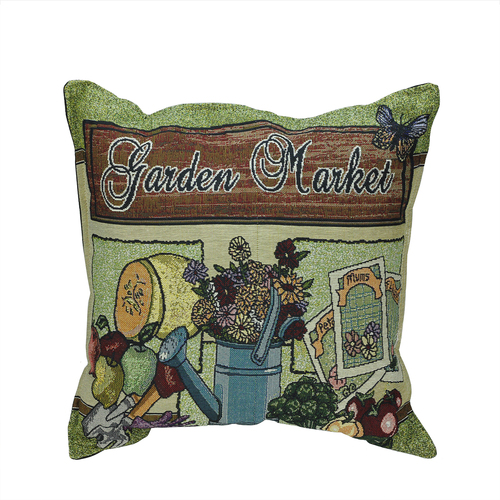 "17"" Summertime Garden Market Decorative Tapestry Accent Throw Pillow - 32266466"