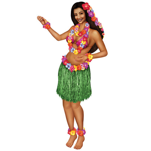 Club Pack of 12 Tropical Themed Jointed Floral Hula Girl Party Decorations 5' - 31564869
