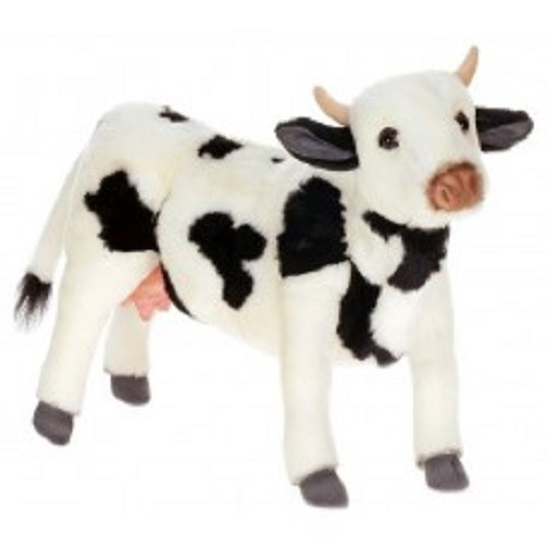 """Set of 2 Life-Like Handcrafted Extra Soft Plush Black and White Cow Stuffed Animals 15.5"""" - 31068885"""