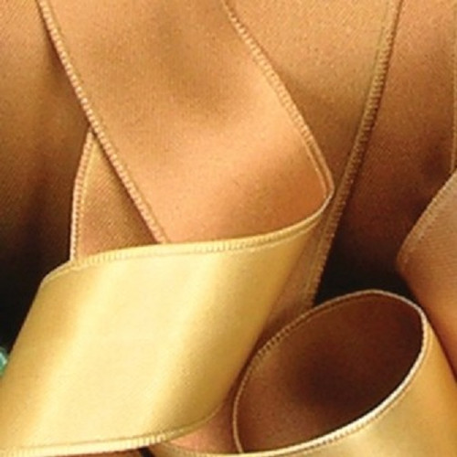 """Dijon & Gold Two-Tone Double Face Satin French Wired Decorative Polyester Ribbon 1.5"""" x 27 Yards - 31389554"""