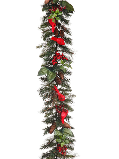 6' Christmas Traditions Pine Garland w/ Cardinals, Nests, Berries & Twigs -Unlit - 30874528