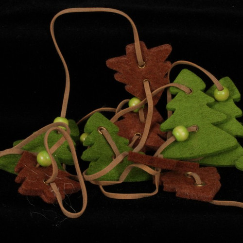 Olive Green And Chocolate Brown Small And Large Trees Felt Garland Ornaments - 31391291