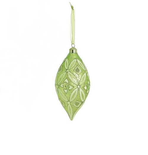 """6.5"""" Enchanted Forest Green Glittered and Frosted Glass Drop Christmas Ornament - 32270709"""