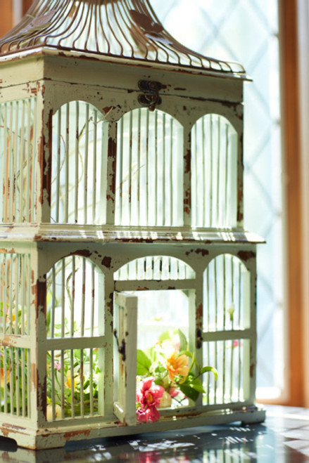 """Set of 2 Distressed Antique Style Green Decorative Birdcages with Butterfly Accents 22"""" - 28"""" - 31354437"""
