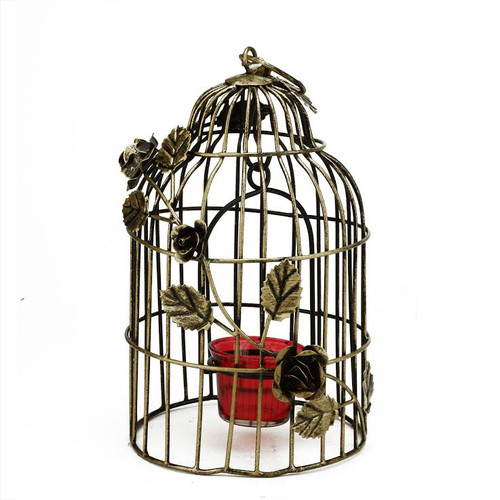 "10"" Decorative Antique Gold Finish Birdcage Tea Light Candle Holder Lantern with Rose Flowers - 31799452"