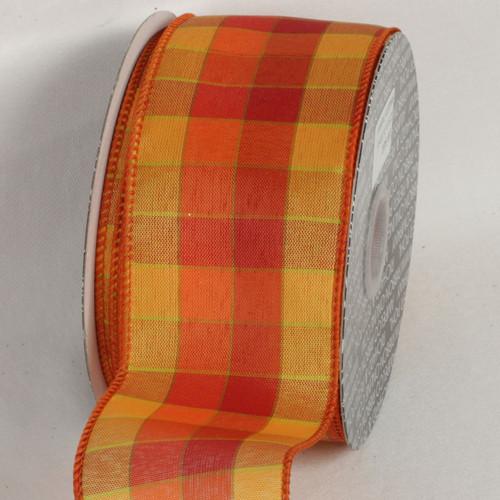 "Orange and Yellow Tartan Chic Wired Craft Ribbon 2.5"" x 40 Yards - 31532269"
