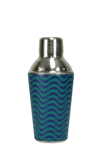 "6.5"" Fashion Avenue Blue Wave Stainless Steel Mini Martini Cocktail Shaker - 30997476"