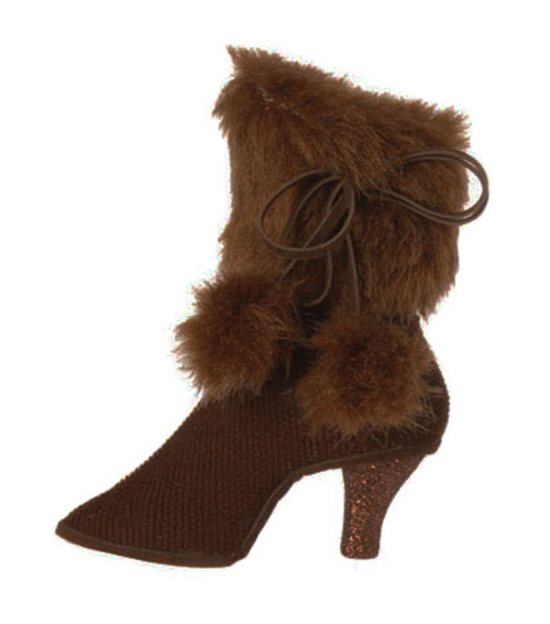 "5"" Fashion Avenue Brown High Heel Boot with Faux Fur Cuff Christmas Ornament - 31083190"