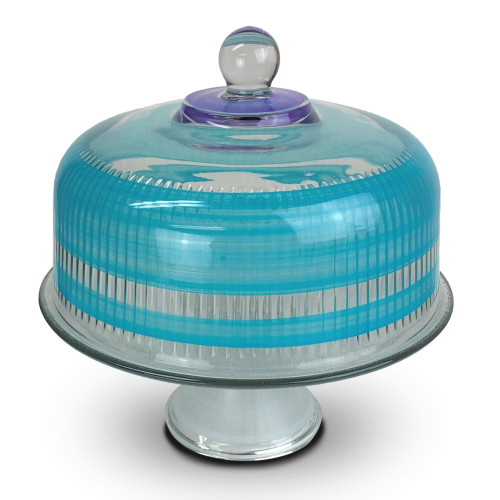 "Turquoise Retro Stripe Hand Painted Glass Convertible Cake Dome 11"" - 31011057"