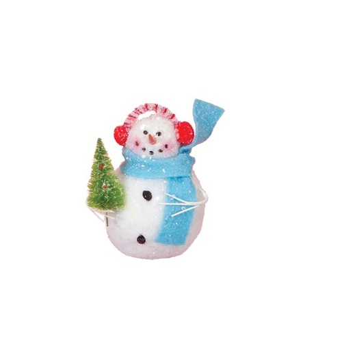 "4.5"" Cupcake Heaven Snowman with Tree and Blue Scarf Christmas Ornament - 16190342"