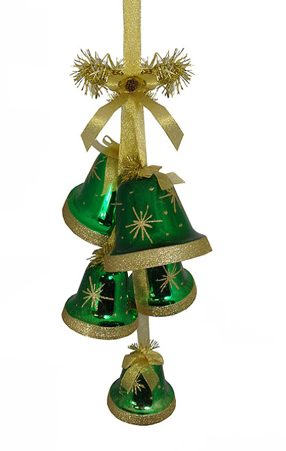 """26"""" Green with Gold Glitter Shatterproof Hanging Bells Christmas Decoration - 23119320"""