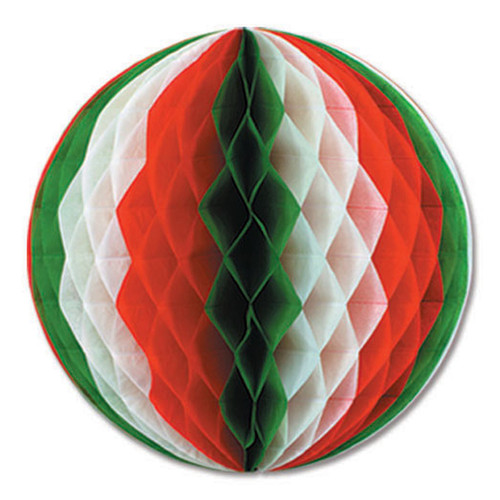 """Club Pack of 12 Red, White and Green Honeycomb Hanging Tissue Ball Party Decorations 12"""" - 31557565"""