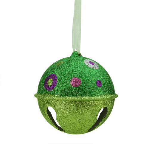 """Candy Fantasy Green Glitter Bell with Polka Dots Christmas Ornament 3.25"""" - 16178092"""