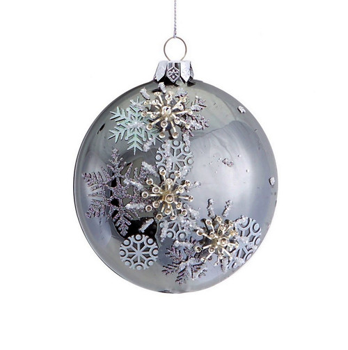 "3.5"" Shiny Pewter Gray Beaded 3D Snowflake Christmas Disc Ornament - 31073323"