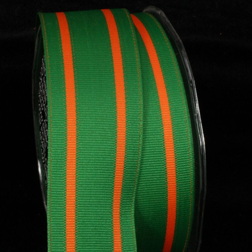 "Classic Green and Orange Striped Grosgrain Wired Craft Ribbon 1.5"" x 27 Yards - 31391827"