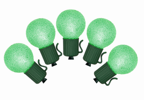 Set of 10 Battery Operated Sugared Green LED G30 Christmas Lights - Green Wire - 11332130