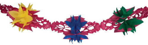 """Club Pack of 12 Pink, Yellow, Green and Blue Hanging Tissue Garland Party Decorations 10"""" - 31380283"""