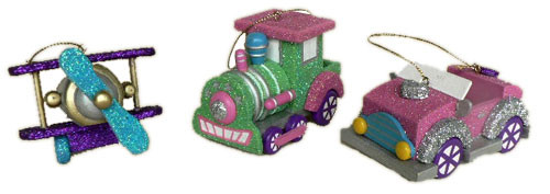Set of 3 Fairy Whispers Planes Trains and Automobiles Christmas Ornament Set - 6582243