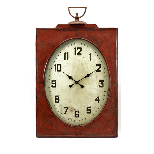 """47"""" Dramatic Country Rustic Antique Style Red Mantle Clock - 16177161"""