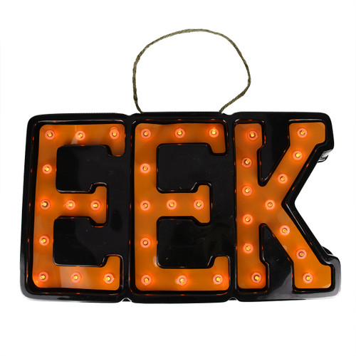 "20"" Lighted Black and Orange ""EEK"" Hanging Halloween Window or Wall Decoration - 31576412"