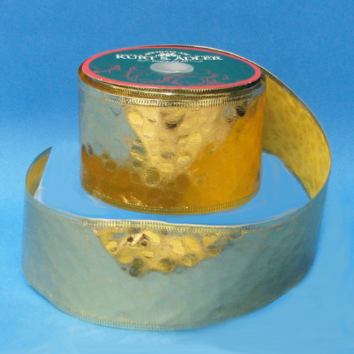 "Gold Embossed Faux Leather Christmas Ribbon Spool 2.5"" x 60 Yards - 30839416"