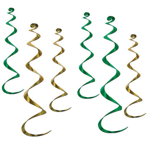 "Club Pack of 36 Metallic Green and Gold Twirly Whirly Hanging Decorations 36"" - 31557465"