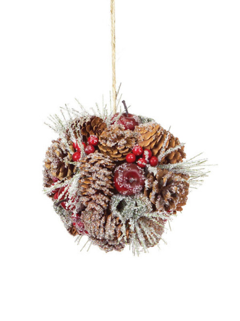 "6"" Eco Country Iced Pine Cone Apple Berry Christmas Ornament - 17103965"