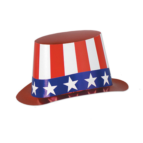Club Pack of 25 Red, White and Blue Patriotic Foil Hi-Hat Costume Accessories - 31561570