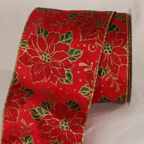 "Red, Green and Gold Christmas Poinsettia Wired Craft Ribbon 4"" x 20 Yards - 31392438"