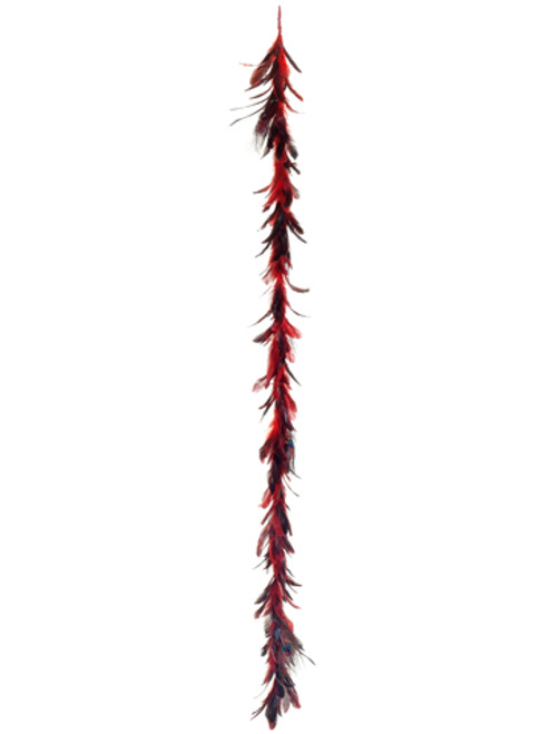 6' Regal Peacock Vibrant Red Exotic Christmas Feather Garland - Unlit - 20921677