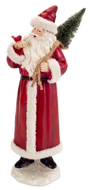 """18.5"""" Rustic Red and White Santa Claus Christmas Figure with Cardinal and Tree - 31755246"""