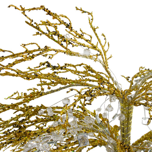 "46"" Gold Crystallized Glitter Potted Holiday Tree - Mirrors & Beads - 6595644"