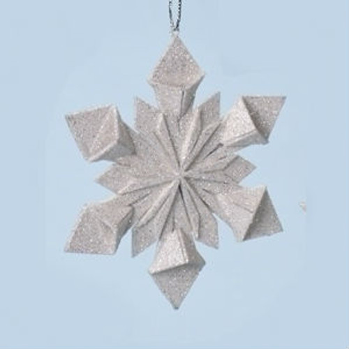 "4"" Holy Night Origami Style Starburst Glittered Snowflake Christmas Ornament - 31069883"