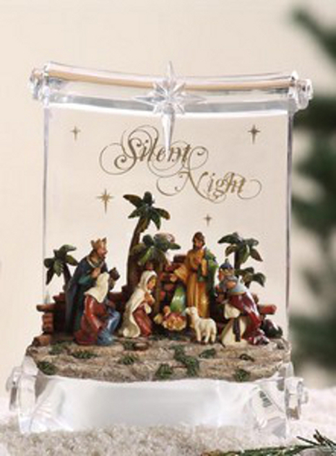 """Pack of 2 Icy Crystal Illuminated Religious Nativity Scroll Figurines 8"""" - 31002417"""