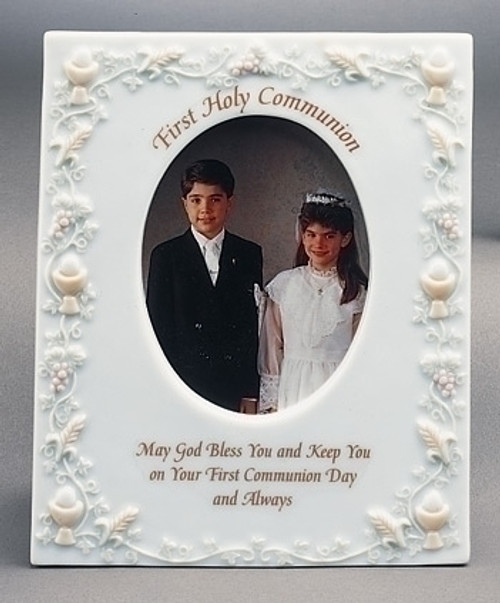 """First Holy Communion Porcelain 3.5""""X5"""" Picture Frame - 7038664"""