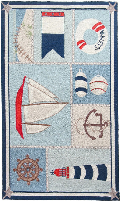 2.5' x 7.5' Let's Sail Away Hand Hooked Area Throw Rug Runner - 31011519