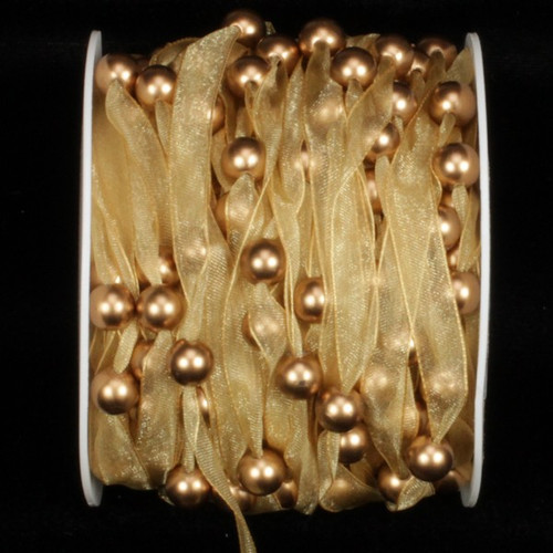 Gold Organdy Craft Ribbon with Pearls 9.5mm x 27 Yards - 31384725