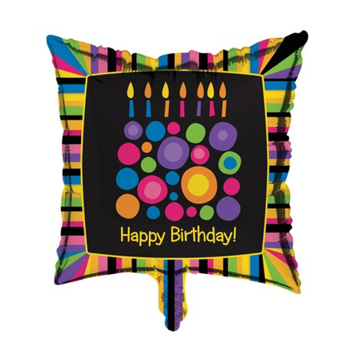 "Pack of 10 Multi-Colored ""Happy Birthday!"" Cake Dot Metallic Party Balloons 18"" - 31382068"