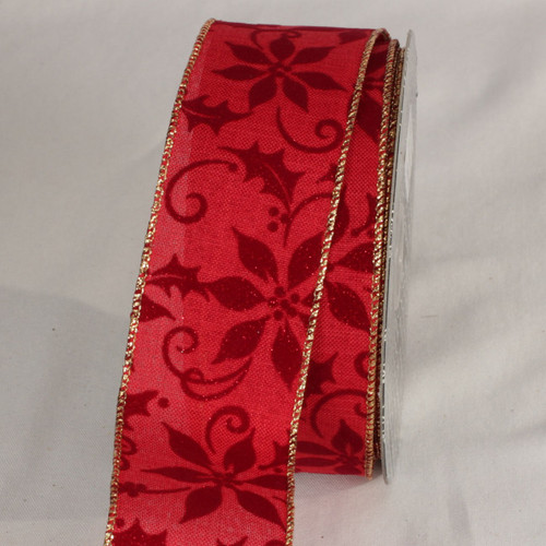 "Velveteen Red and Burgandy Poinsettia Wired Craft Ribbon 2"" x 20 yards - 31532351"
