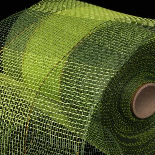 "Green and Khaki Checkered Pattern Deco Mesh Craft Ribbon 6.5"" x 80 Yards - 31391012"