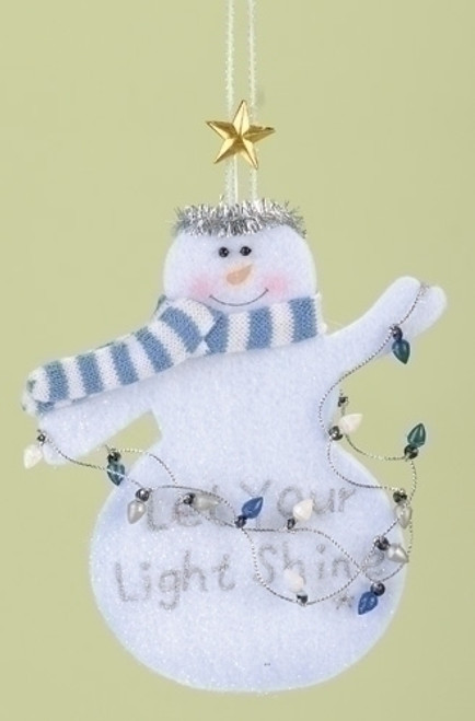 "Club Pack of 12 ""Let Your Light Shine"" Inspirational Snowman Christmas Ornaments - 7392097"