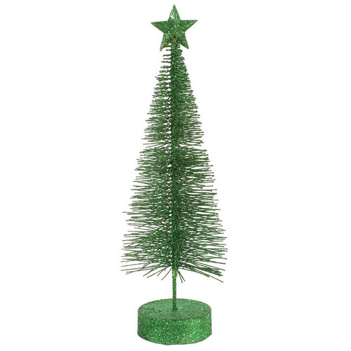 "Pack of 2 Xmas Green Glitter Sisal Artificial Table Top Christmas Trees 12"" - 31089707"