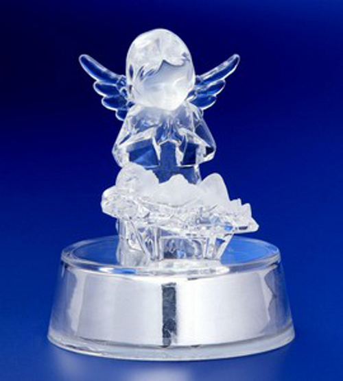 """Pack of 6 Icy Crystal Illuminated Angel Watching Over Jesus Figurines 4"""" - 31002455"""