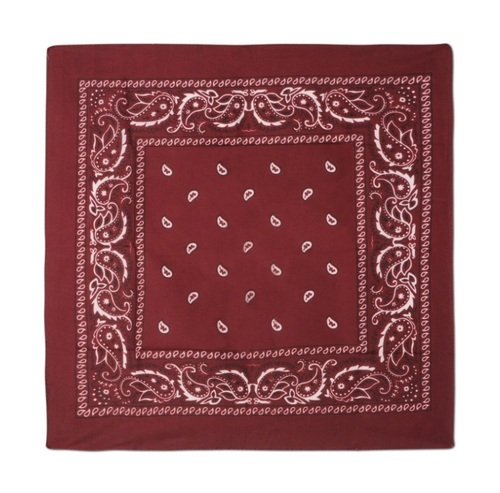 "Club Pack of 12 Burgundy Red and White Western Paisley Bandana Costume Accessories 22"" - 31556827"