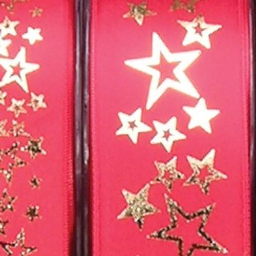 "Gold Star Printed Red Satin Craft Ribbon 1.5"" x 27 Yards - 31385579"
