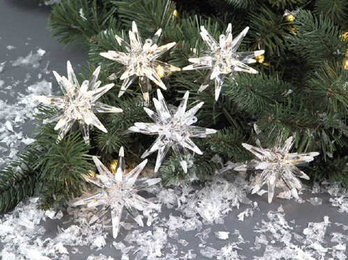 Pack of 6 Richest Winter Frosted Tip Snowflake Christmas Light Covers - 30839368