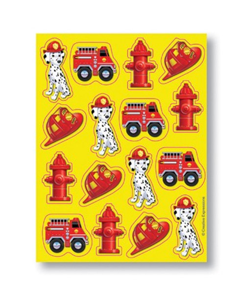"Club Pack of 96 Firefighter Red and Yellow Value Party Sticker Sheets 8"" - 31382494"