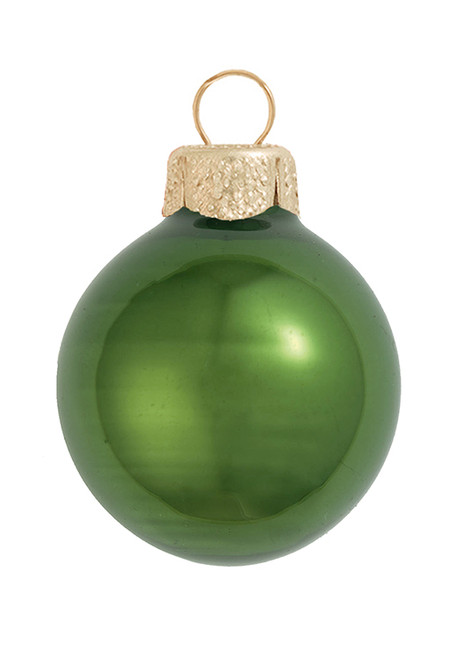 """40ct Pearl Moss Green Glass Ball Christmas Ornaments 1.5"""" (40mm) - 30939402"""