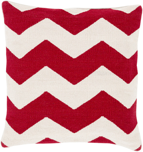 """18"""" Rayures De Chevron Red and Light Gray Decorative Square Throw Pillow - 31079429"""