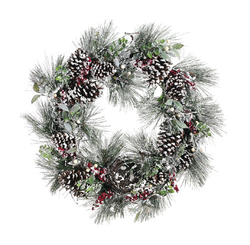 "31"" Frosted Pine Cone & Berry Christmas Grapevine Wreath - 6078372"